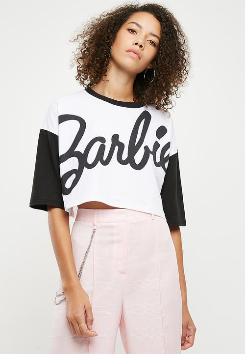 2e51f85e071 Barbie mono contrast crop T shirt - white Missguided T-Shirts, Vests ...