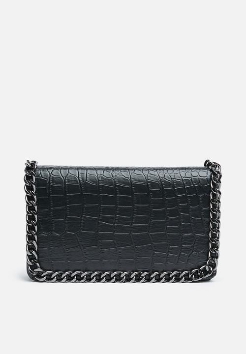 d4e24de265 Chain faux leather trim croc cross body - black Missguided Bags ...
