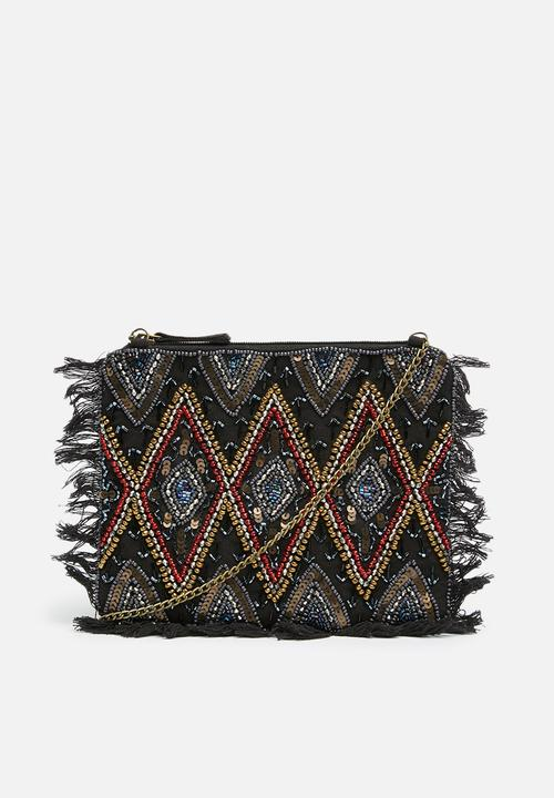 9f1159756 Sequin beaded fringe clutch - multi Missguided Bags & Purses ...
