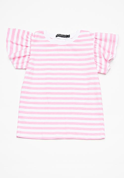 bc0e5acbb849b6 Kids girls ruffle sleeve top - pink & white stripe Superbalist Tops ...