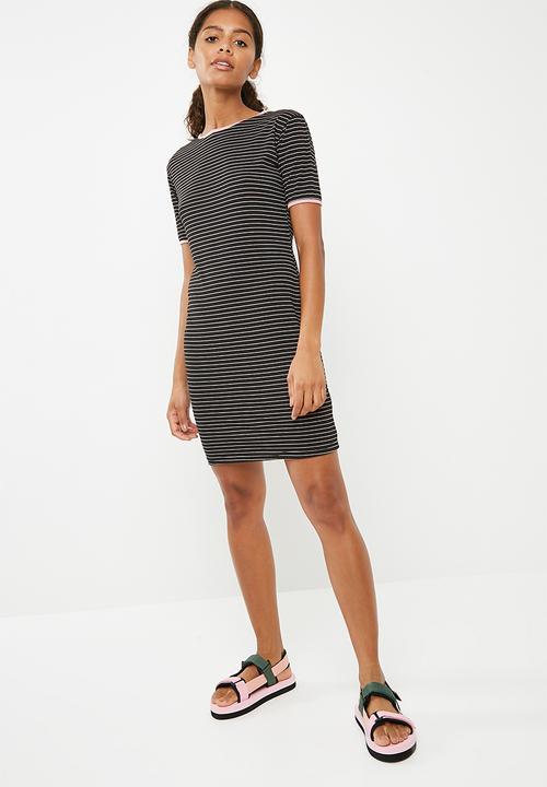 Ringer tee dress strip