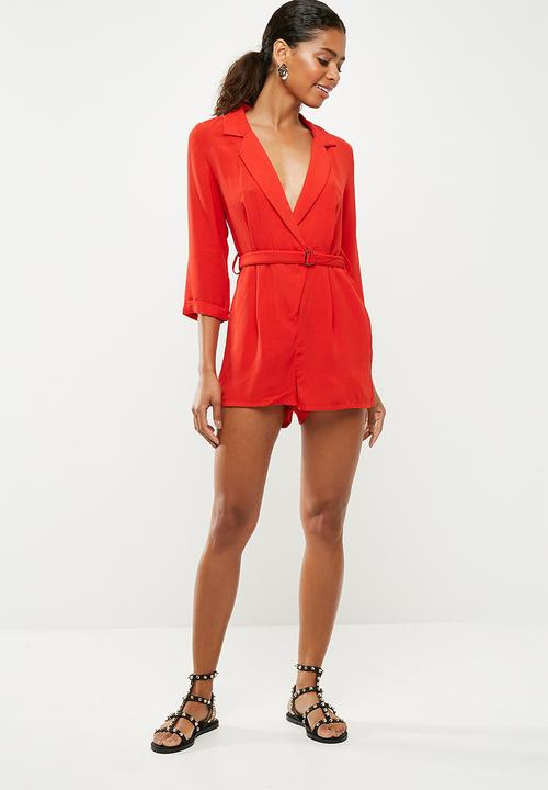 cd79b52079 Wrap blazer playsuit - red Missguided Jumpsuits   Playsuits ...