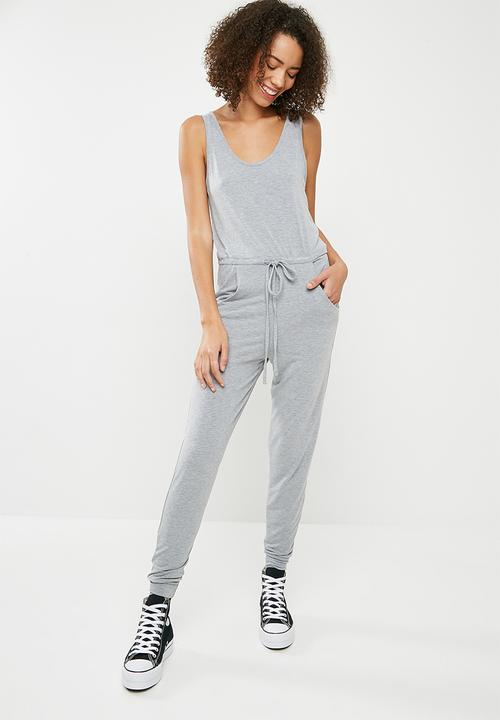 784ab0e155b5 Sleeveless tie waist jumpsuit - grey Missguided Jumpsuits ...