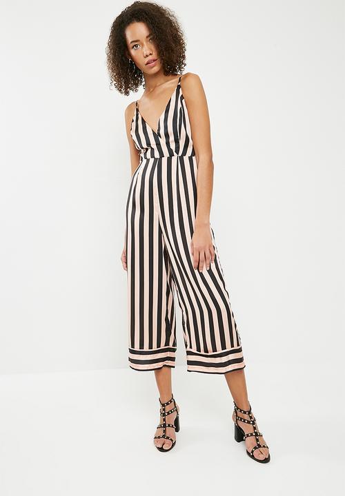 fa0490e35f7 Stripe cami deep cuff culotte jumpsuit - multi Missguided Jumpsuits ...
