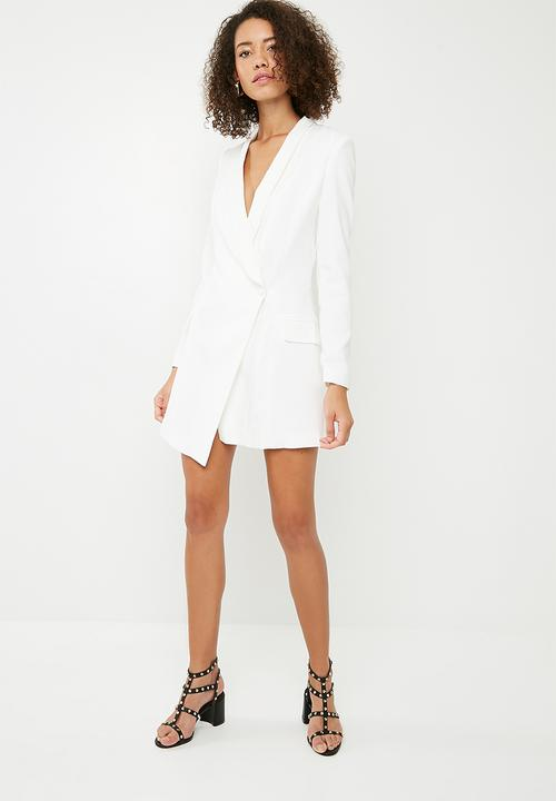 4f7066a3f9d Asym crepe blazer dress - white Missguided Occasion
