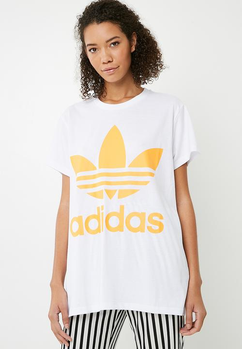 fff07732 Boxy trefoil tee - White read gold adidas Originals T-Shirts ...