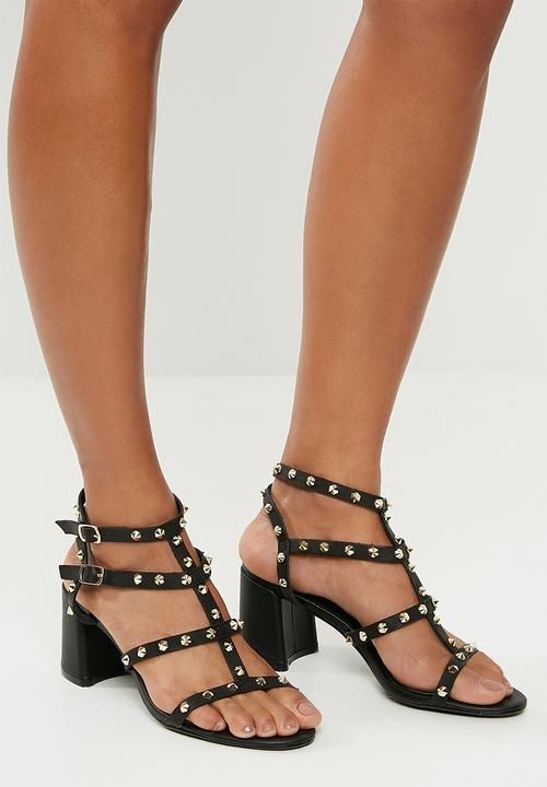 ba982702275 Studded flared heel gladiator sandal - black Missguided Heels ...