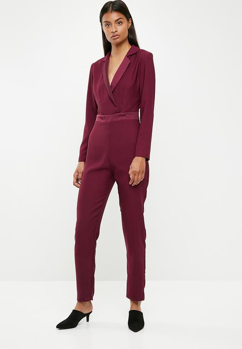 1d16216d0a3 Longsleeve tailored jumpsuit - burgundy Superbalist Jumpsuits ...