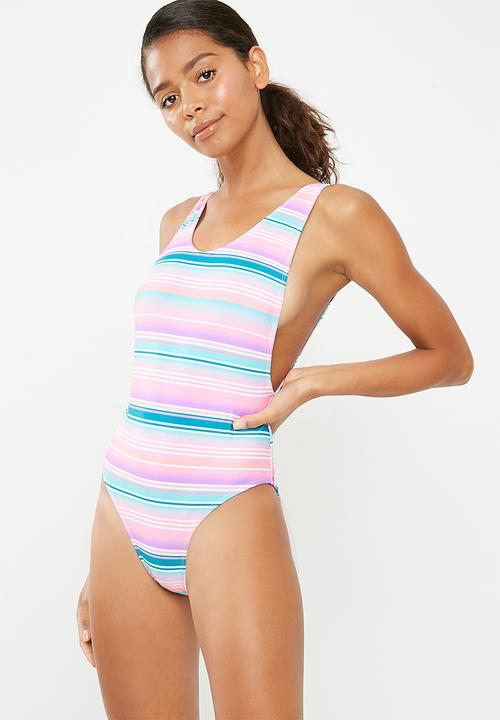 bacf64616a High leg low side stripe swimsuit - aqua Missguided One Piece ...