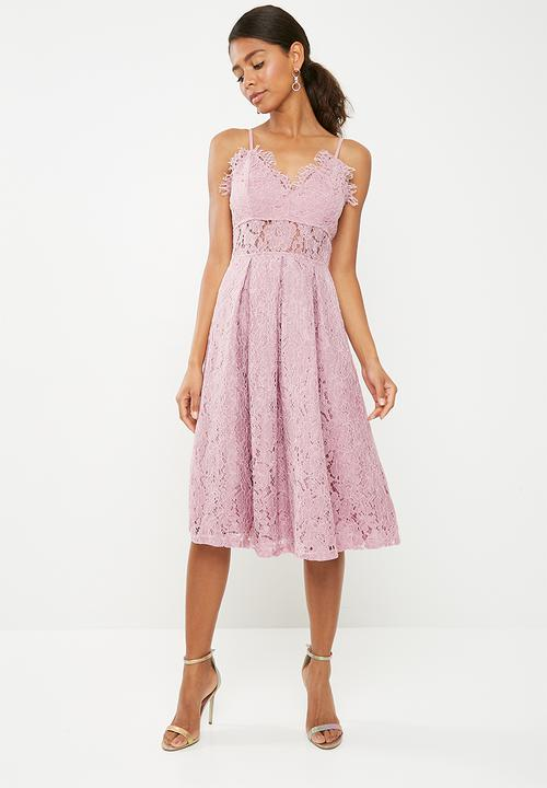bcdb8447a7 Lace strappy midi skater dress - mauve Missguided Occasion ...
