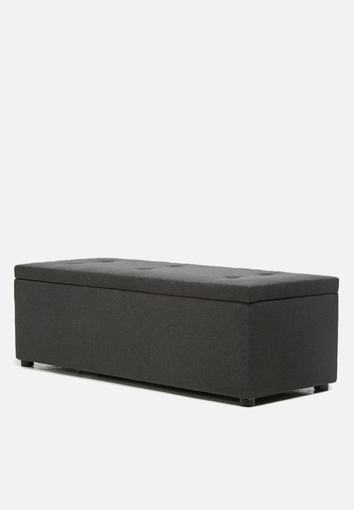 Sixth Floor   Double Storage Ottoman   Charcoal Grey