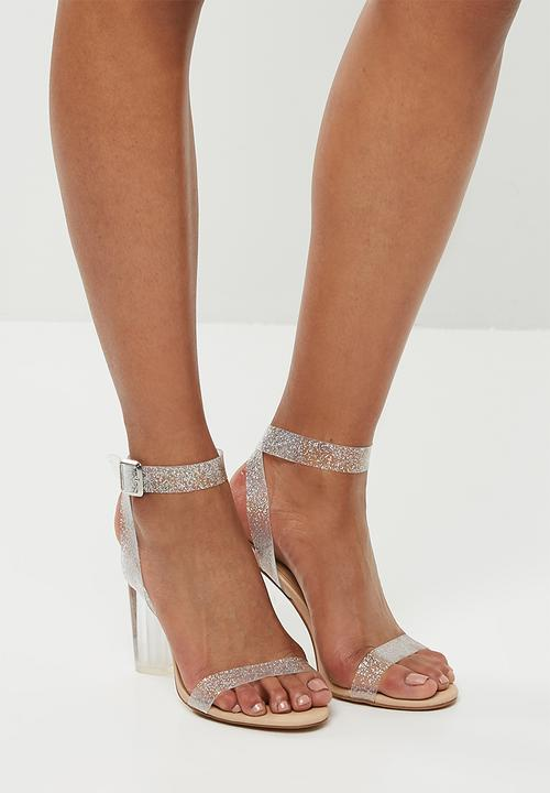 f631a33c6bd Glitter perspex clear heeled sandal - beige Missguided Heels ...
