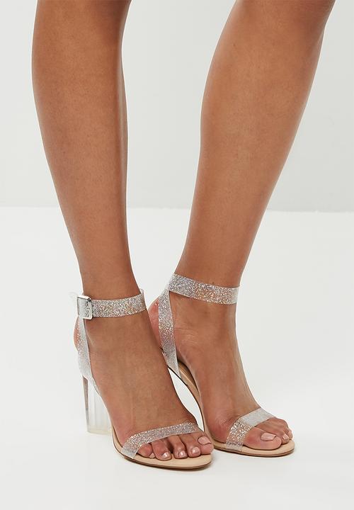 c314fe38c89 Glitter perspex clear heeled sandal - beige Missguided Heels ...