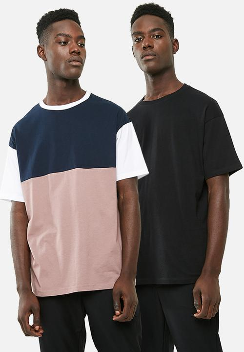 6469a0ee Oversized tee combo 2 pack - pink/white/navy blocked & black plain ...