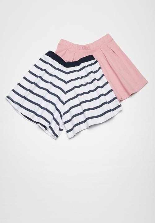 a245bd7a90661 Kids girls 2pk culotte knit shorts - dusty pink and white/navy ...