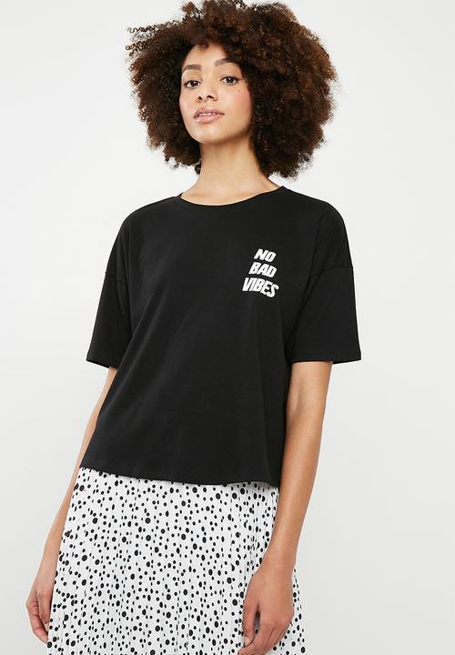 e082eb2cc45767 No bad vibes drop shoulder slogan tee - black Superbalist T-Shirts ...