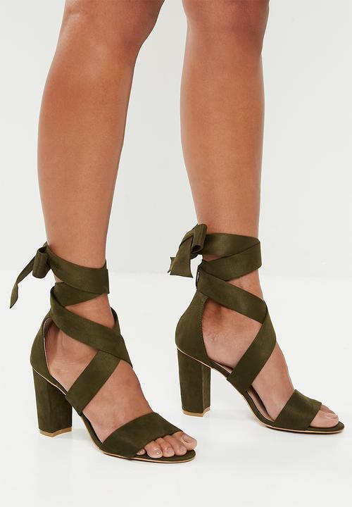 Fiona strap block heel - khaki