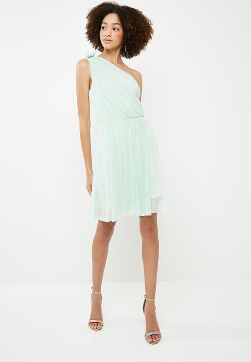 2cb1abb0ad72 Party one shoulder woven tulle dress - mint green ONLY Occasion ...