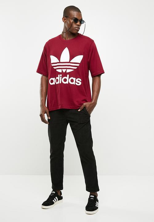 077fb3bf1 Mens Oversized Tee - Collegiate Burgundy - White adidas Originals T ...