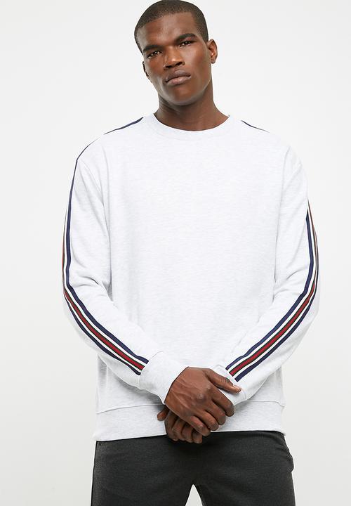 11b59f25f80 Colour Stripe Tape Sweater - grey New Look Hoodies & Sweats ...