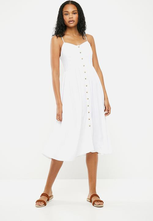 4f0e5bae39 Plain button through midi dress - white New Look Casual ...