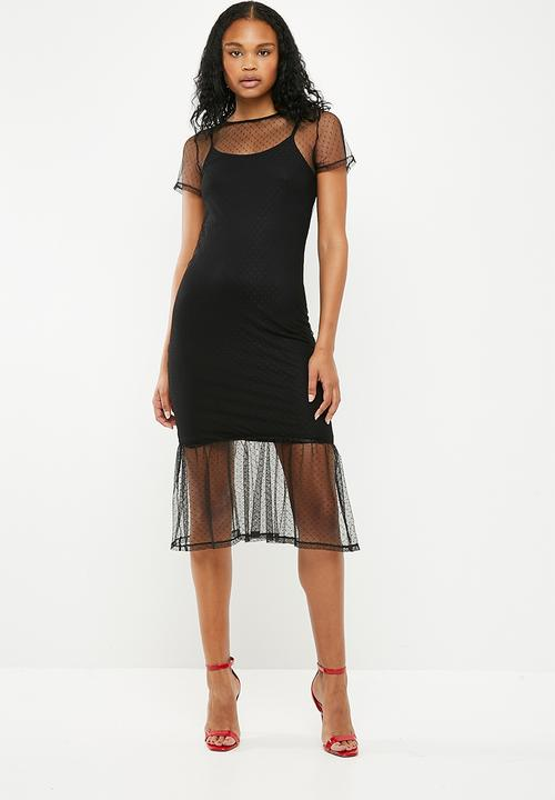 5dfc1949e4 Dobby mesh tier midi dress - black New Look Casual