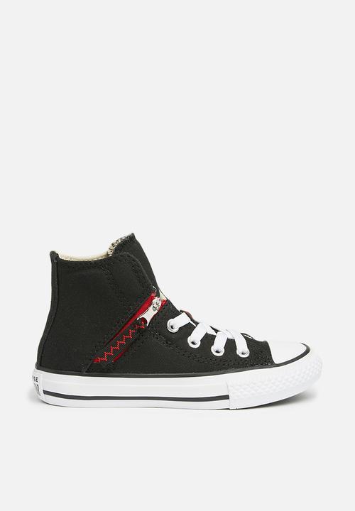 Kids Chuck Taylor All Star Pull-Zip Hi - black enamel red white ... 08ccbc2bf