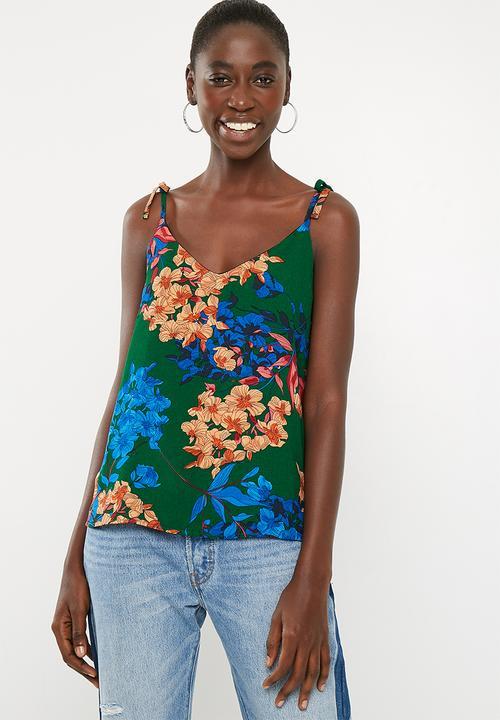 fecbe30e80b55 Tie shoulder cami top - green floral Superbalist T-Shirts, Vests ...