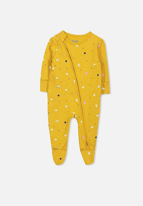 afaffd1ef Mini zip through romper - mineral yellow floral Cotton On Babygrows ...