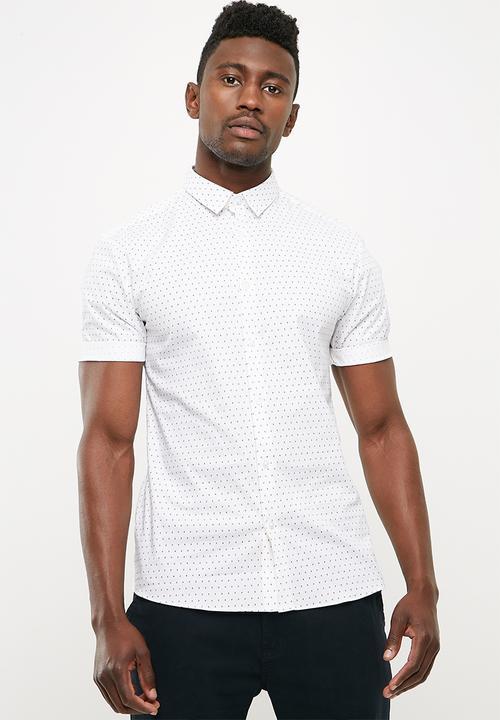 84751e22 Muscle poplin shirt sleeve polka dot shirt - white New Look Shirts ...