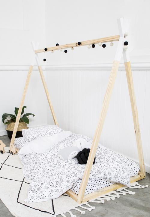cheap for discount e8891 24560 Kids single teepee bed frame - white dip