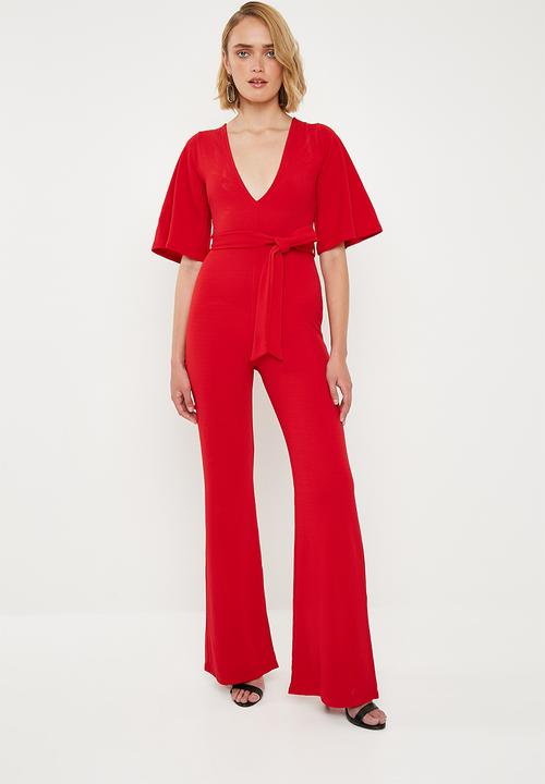 4dbf2670d0 Plunge kimono sleeve jumpsuit - red Missguided Jumpsuits   Playsuits ...