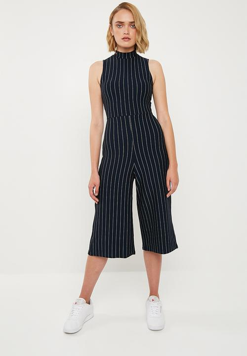 d91ee3f1542d High neck pinstripe culotte jumpsuit - navy   white Missguided ...