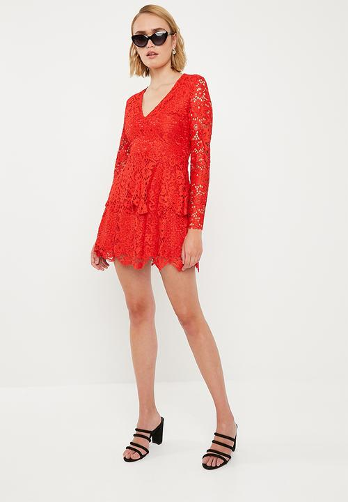 247fcb8ab663e Plunge frill layer skater - red Missguided Occasion   Superbalist.com
