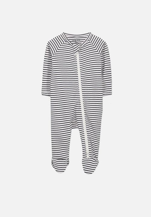 815020a48688c Nb long sleeve zip through romper - vanilla indian ink stripe Cotton ...
