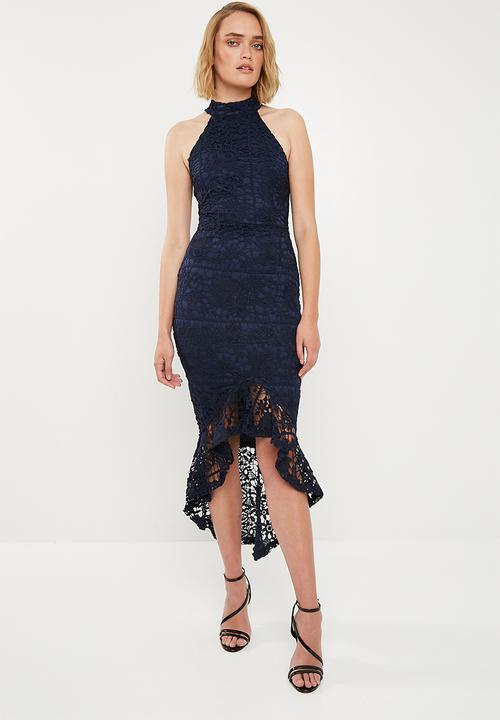 a17a043c4508 Lace high neck fishtail midi dress - navy Missguided Occasion ...