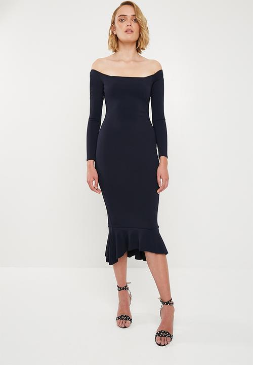 Bardot fishtail hem dress - navy Missguided Occasion  98dd8e842