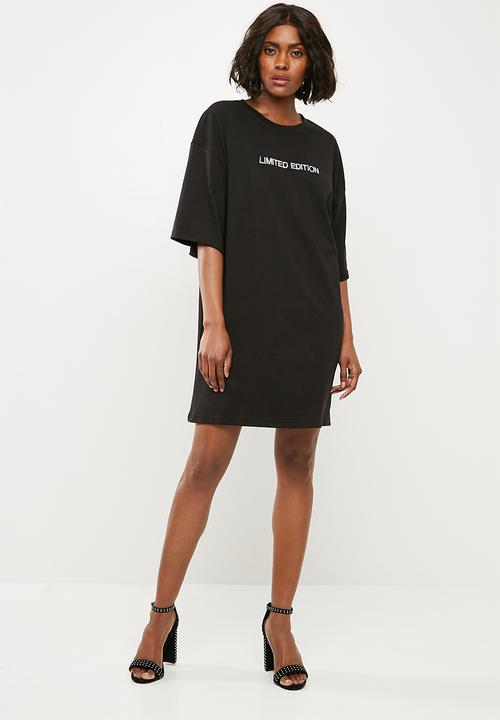 0492a4ff895d Oversized short sleeve T-shirt dress - black Missguided Casual ...