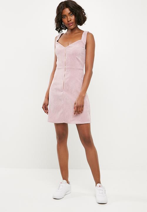 d3d27029adb3 Corduroy zip front mini dress - blush Missguided Casual ...