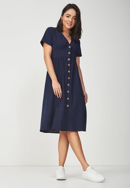 Woven summer gigi button through midi dress - navy Cotton On Casual ... 8cf6be299