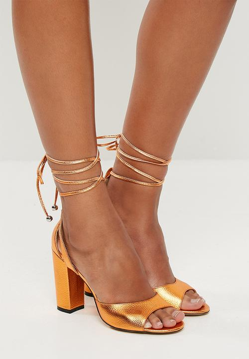 2ab504a4e39 Frenchie lace up block high heel - orange metallic Public Desire ...
