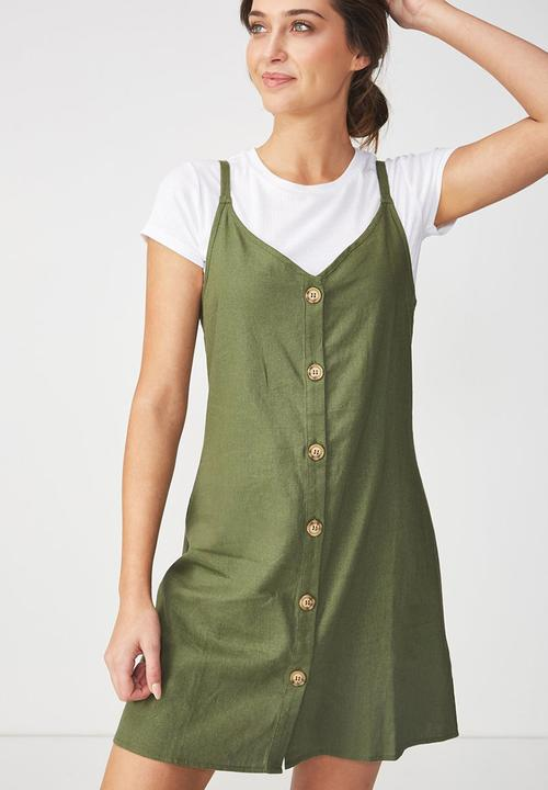 6c1f49ea84117d Woven Margot slip dress - button through soft khaki Cotton On Casual ...