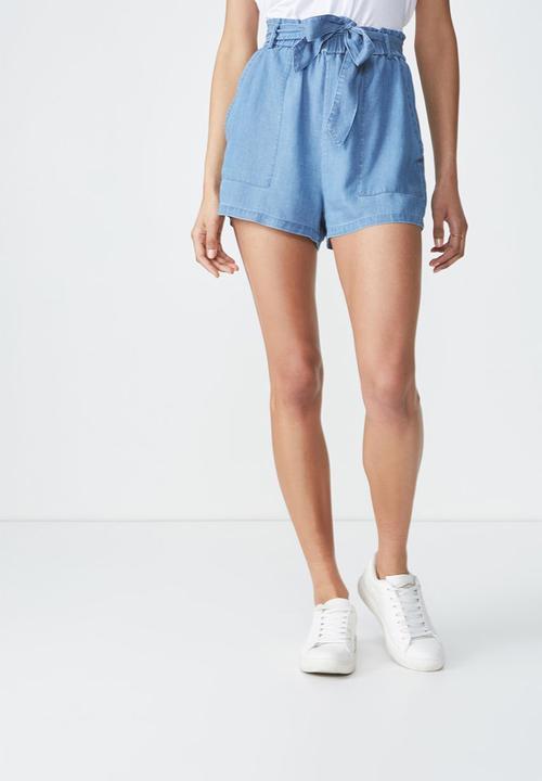 183001fc9d High waist belted short - mid blue Cotton On Shorts | Superbalist.com