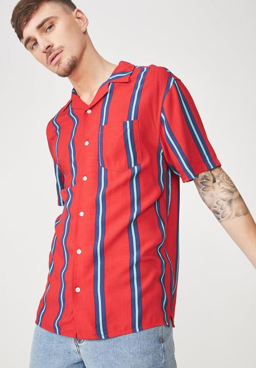 8512f071f67c Festival short sleeve shirt - red indigo stripe Cotton On Shirts ...