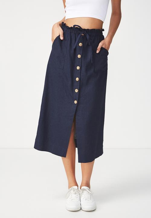 9bea1e888a Woven Molly button through midi skirt - navy Cotton On Skirts ...