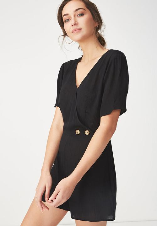 Woven angie cap sleeve playsuit - black Cotton On Jumpsuits ...