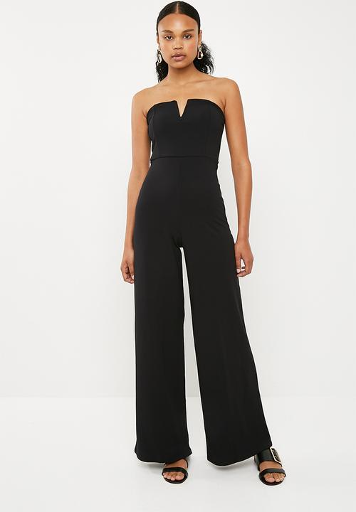 a38987b6b42 V bar bandeau jumpsuit - black Missguided Jumpsuits   Playsuits ...