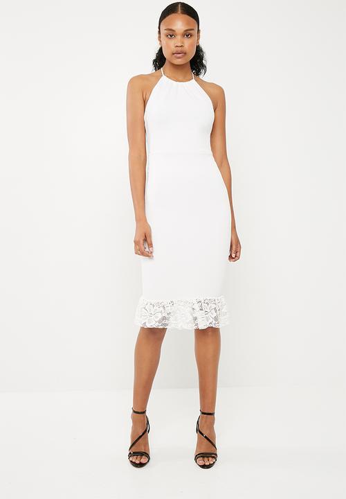 608aaebd7b96 Scuba 90s neck lace frill midi dress - white Missguided Occasion ...