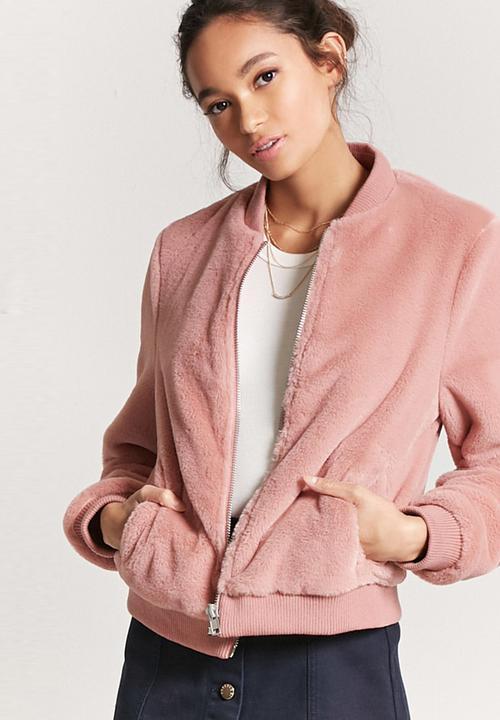 42cf81c43 Faux-fur Bomber Jacket Pale Pink Forever21 Jackets