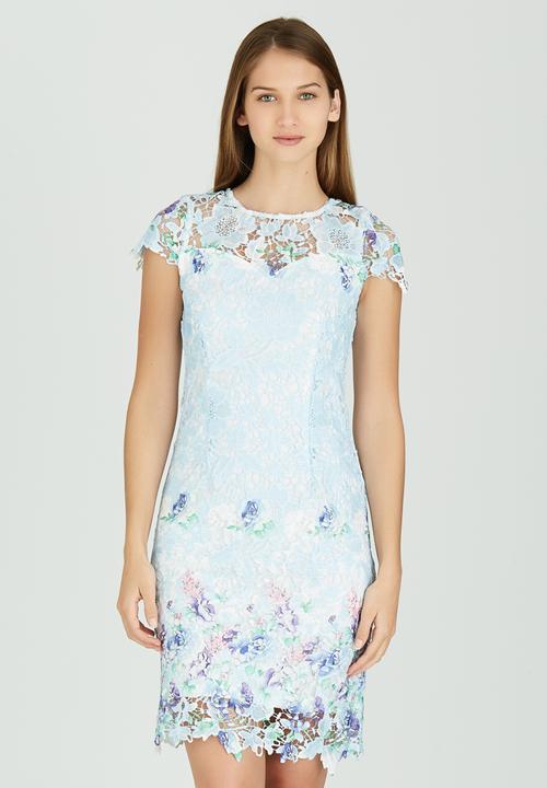 Patterned Lace Dress Pale Blue